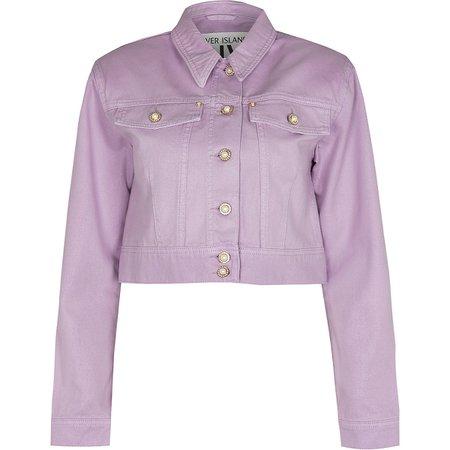 Purple shoulder pad denim jacket | River Island