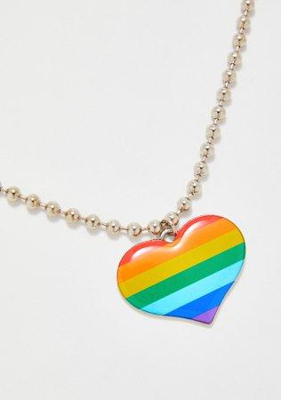 Rainbow Heart Ball Chain Necklace | Dolls Kill