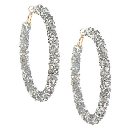 Silver 60MM Crystal Hoop Earrings | Claire's US