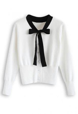 Button Down Bowknot Knit Sweater in White - NEW ARRIVALS - Retro, Indie and Unique Fashion