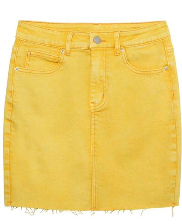 yellow jean skirt