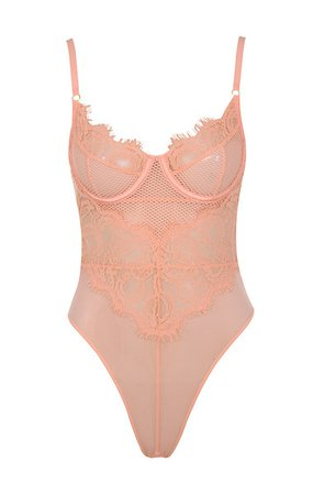 Intimates : 'Nadia' Peach Lace Bodysuit