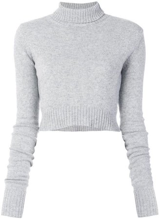 light grey mock neck cropped sweater