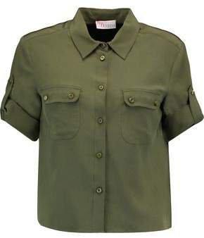 Cropped Silk-crepe Shirt