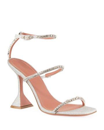 Amina Muaddi Gilda Glitter Crystal Sandals | Neiman Marcus