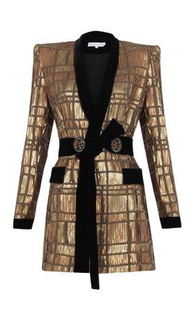 Raisa Vanessa Belted Sequined Blazer Dress