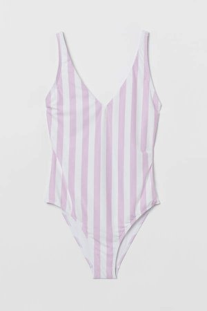 Back-laced Swimsuit - Purple