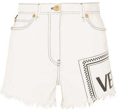 Frayed Printed Denim Shorts - White