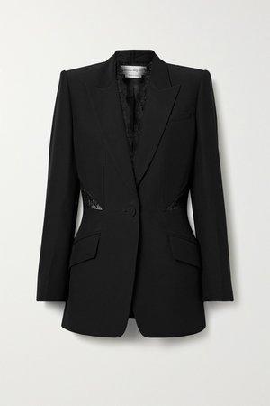 Black Lace-paneled crepe blazer | Alexander McQueen | NET-A-PORTER