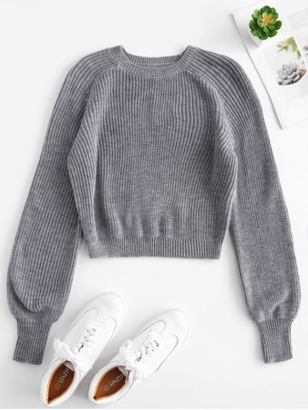 [42% OFF] 2020 Raglan Sleeves Crop Sweater In GRAY | ZAFUL Europe