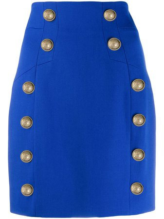 Blue Balmain Button-detailed Mini Skirt | Farfetch.com