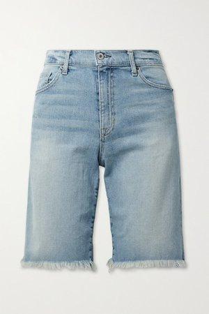 Boyfriend Frayed Denim Shorts - Light blue