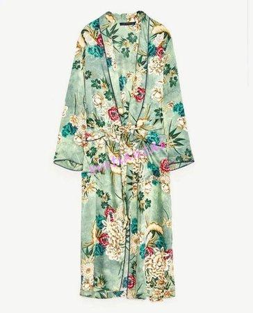 Floral Kimono Coat Contrast Belt Green Long Jacket