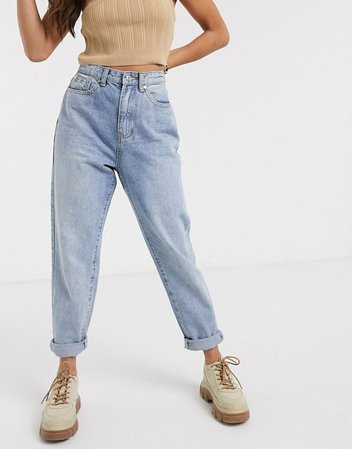 Missguided Petite riot mom jeans in light wash | ASOS