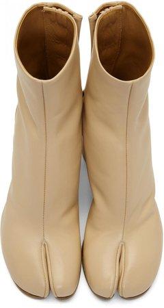Womens   Maison Margiela Boots Beige Leather Tabi Boots Beige Beige ⋆ Örök Szerelem