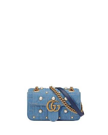 Gucci GG Marmont 2.0 Mini Denim Shoulder Bag | Neiman Marcus