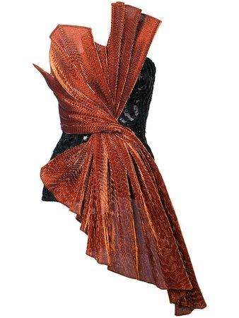HALPERN black and brown sequinned draped top