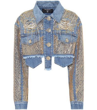 Embroidered Cropped Denim Jacket - Balmain | Mytheresa