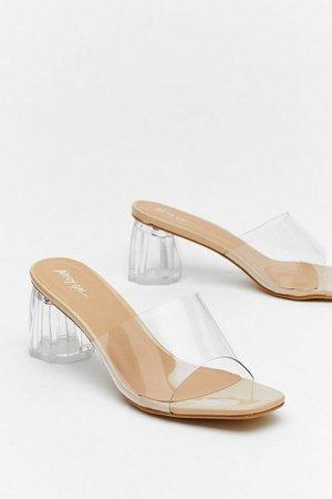 Clear Block Heel Open Toe Mules   Nasty Gal