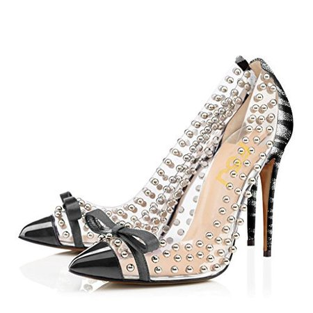 Amazon.com   FSJ Women Studded Pointed Toe Transparent Pumps High Heels Shoes with Cute Bowknot Size 4-15 US   Pumps