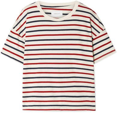 The Roadie Distressed Striped Cotton-jersey T-shirt - Cream