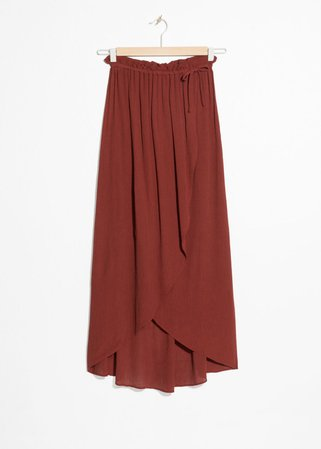 Paperbag Waist Wrap Skirt - Rust - Midi skirts - & Other Stories SE