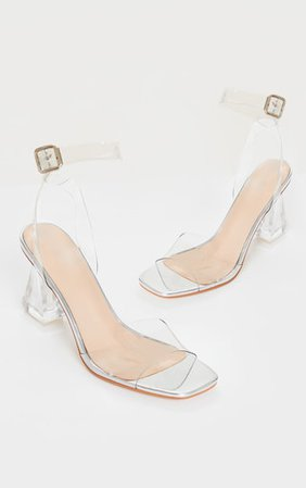 Silver Clear Block Cone Heeled Sandals   PrettyLittleThing USA