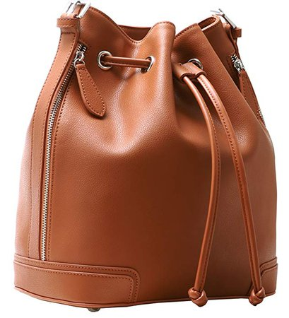 Kenoor Leather Drawstring Bucket Bag Retro Handbags Shoulder Bag Purses Crossbody Bags For Women with Long Shoulder Strap (Brown): Handbags: Amazon.com