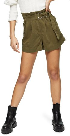 High Waist Belted Utility Shorts