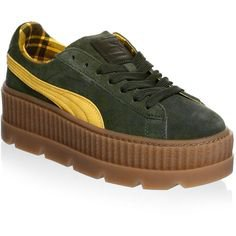 PUMA Cleated Creeper Suede Sneakers (9.305 RUB) ❤ liked on Polyvore featuring shoes, sneakers, suede sneakers, creeper shoes, suede shoes, suede platform shoes and platform shoe