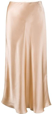 silk slip midi skirt