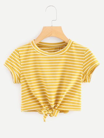 Knot Front Striped Crop Tee | ROMWE