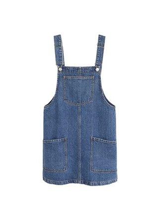 MANGO Pocket denim pinafore dress