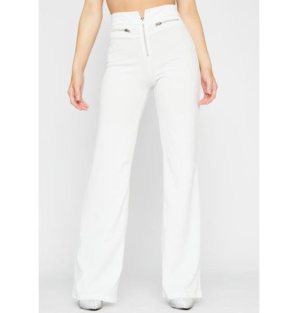 Zipper Wide Leg Pants - White | Dolls Kill