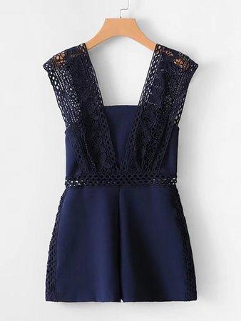 Lace Crochet Strap Insert Romper