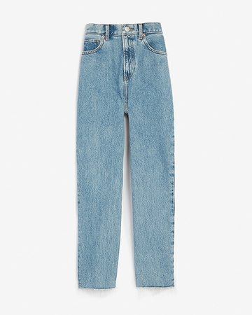Super High Waisted Original Raw Hem Mom Jeans | Express