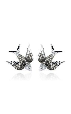 18K White Gold White And Black Diamonds Earrings by Colette Jewelry | Moda Operandi