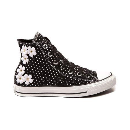 Converse All Star Hi Floral Dots Sneaker Black White Womens Daisy Polka Shoe