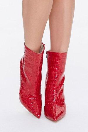 Faux Croc Leather Stiletto Booties