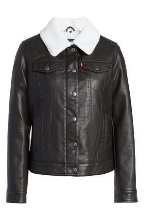 Levi's® Faux Leather Trucker Jacket with Faux Shearling Collar | Nordstrom