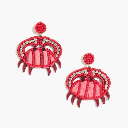Beaded crabs statement earrings