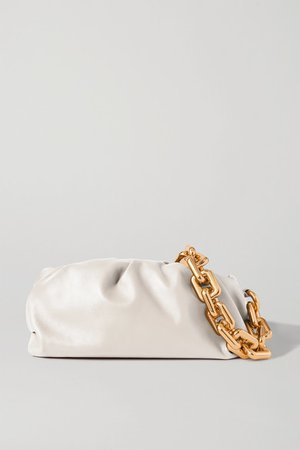 The Chain Pouch Gathered Leather Clutch - White