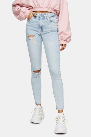 Bleach Ripped Jamie Skinny Jeans | Topshop