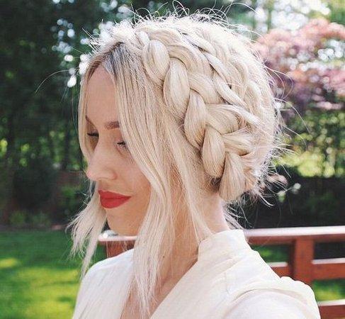 Platinum Blonde Braid Crown Hairstyle