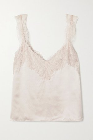 The Brandice Lace-trimmed Silk-charmeuse Camisole - Beige
