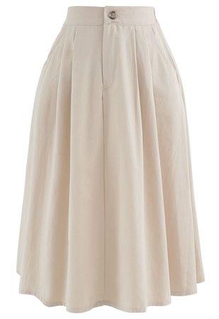 Slant Pockets A-Line Midi Skirt in Cream - Retro, Indie and Unique Fashion