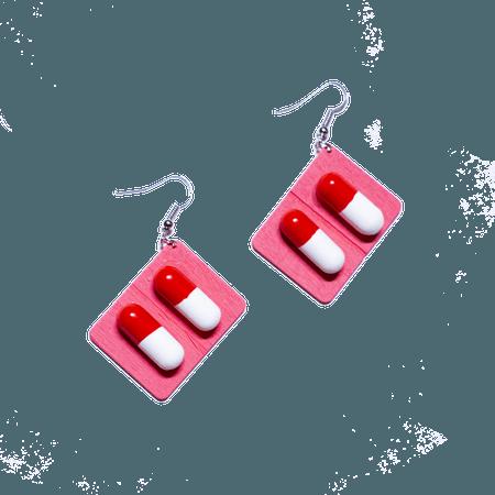 pink capsule pill earrings – Trash Queen