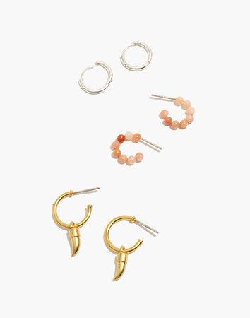 Beaded Huggie Hoop Earring Set