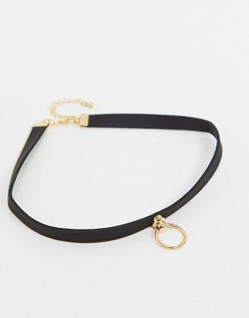 DesignB London choker punk necklace with circle pendant | ASOS