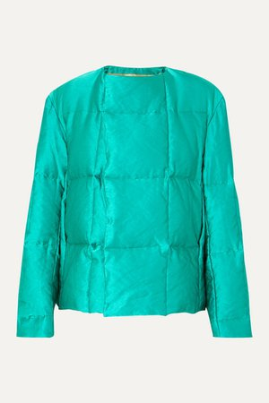 Vigo Quilted Satin Down Coat - Emerald